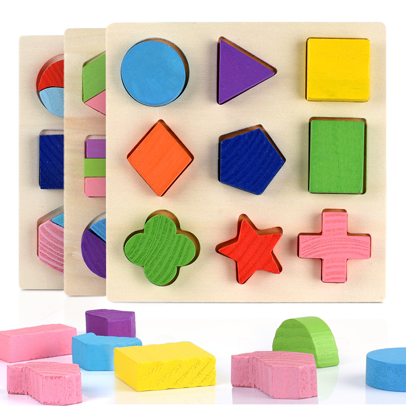 Wooden Geometric Shapes Montessori Puzzle Sorting Math Bricks Preschool Learning Educational Game Baby Toddler Toys for Children(China)