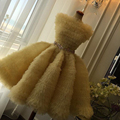 2016 Fashion Yellow Bateau Ruched Tulle Golden Belt Short Cocktail Dresses