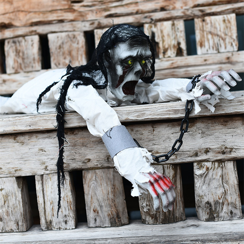 Halloween Crawling Toys Iron Chain Horror Toys Scary Voice Glowing Eyes Electric Toys Halloween Party Ornament Haunted House