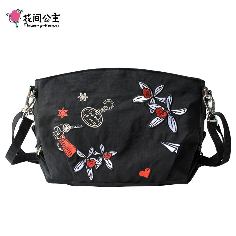 Flower Princess Waterproof Nylon Embroidery Flower Crossbody Bag Women Messenger Bags Teenage Girls Bolsos Mujer Bolsa Feminina цена