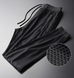 Minglu сетчатая ткань мужские брюки Роскошные полые повседневные тонкие черные мужские брюки плюс размер 3XL 4XL летние спортивные тонкие