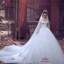 European Stylish Cap Sleeves Sweetheart Neckline Embroidered Lace on Net Dresses for Wedding Pure White Chapel Train w0130