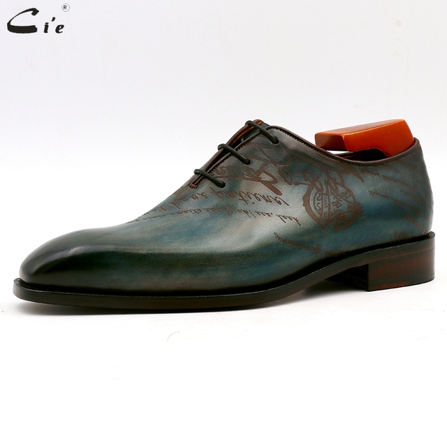 cie square plain toe whole cut patina peacock full grain genuine calf leather oxford men's shoe bespoke leather men shoe ox15