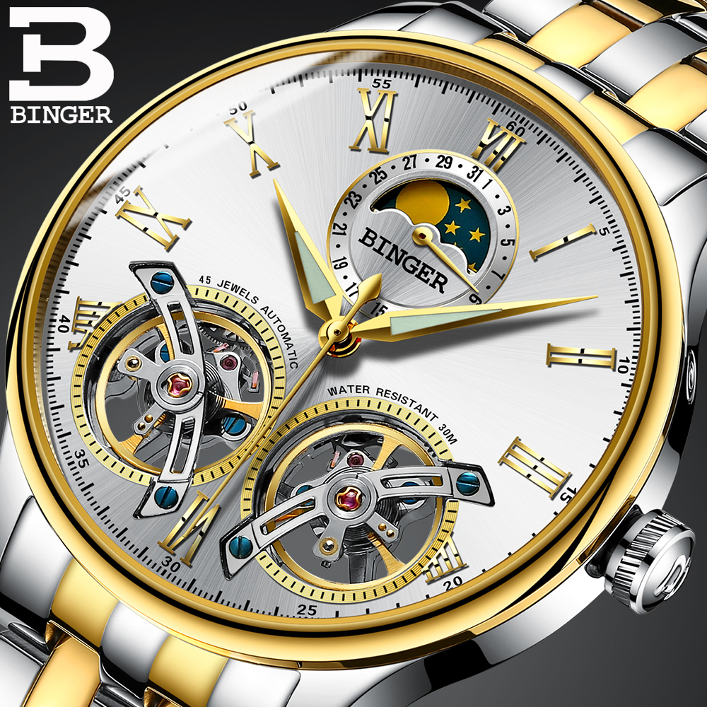 BINGER Casual Men Watches Double Tourbillon Mechanical Wristwatch Stainless Steel Strap Automatic Watch relogio masculino 2017