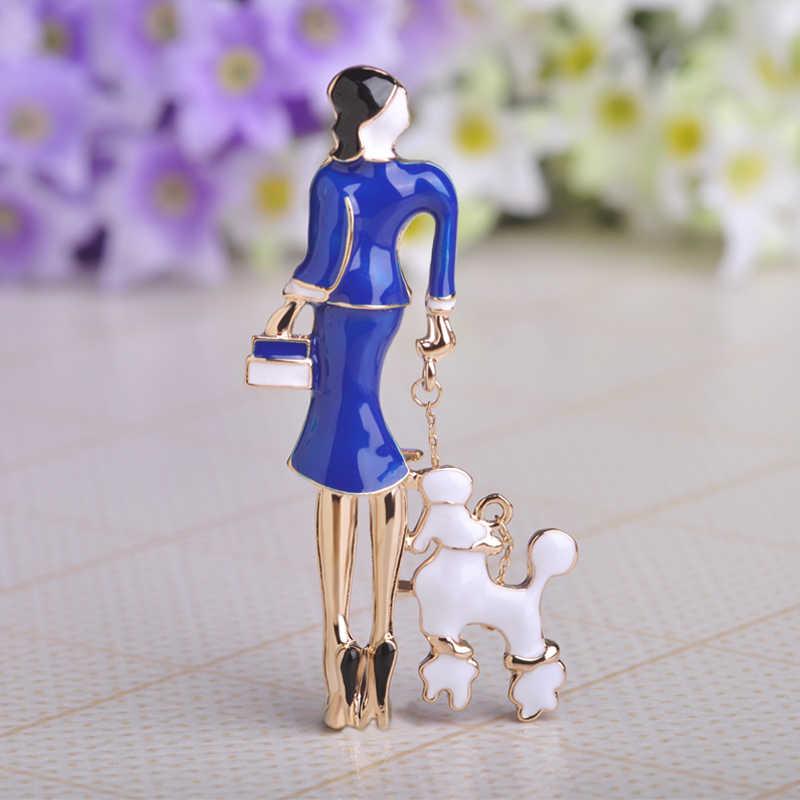 Gadis Rusia Tas Wanita Bros Enamel Warna Emas Broach Hadiah Bagus Wanita dengan Anjing Fashion Bros Korsase Jilbab Pin bijoux