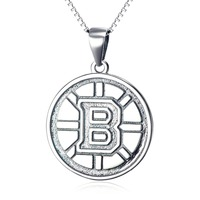 YFN Fine 925 Sterling Silver NHL Hockey Boston Bruins Logo Pendant Round Necklace Sports Jewelry Gifts
