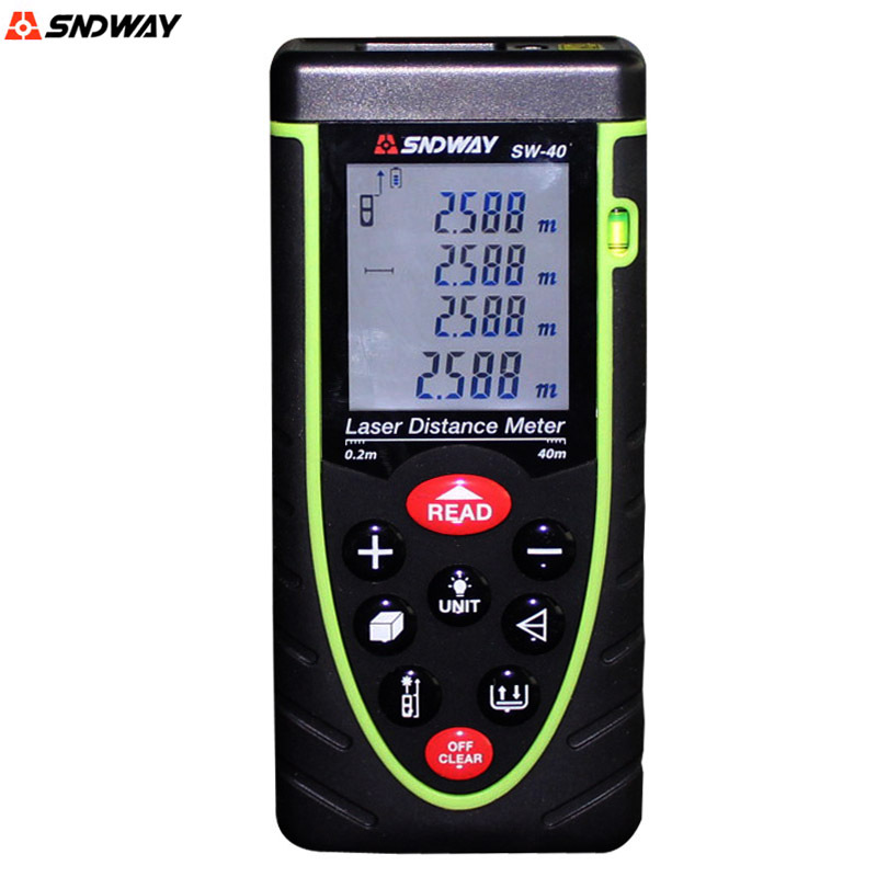 ФОТО SNDWAY  SW-40 Handheld Digital laser Distance Meter Rangefinder 40M Distance Measurer Tape With Bubble level