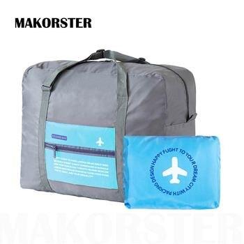 MAKORSTER Large Capacity Portable Fashion Women Travel Bags Nylon Zipper  Weekend Travel Portable bag luggage duffel 4c2e19ad99341