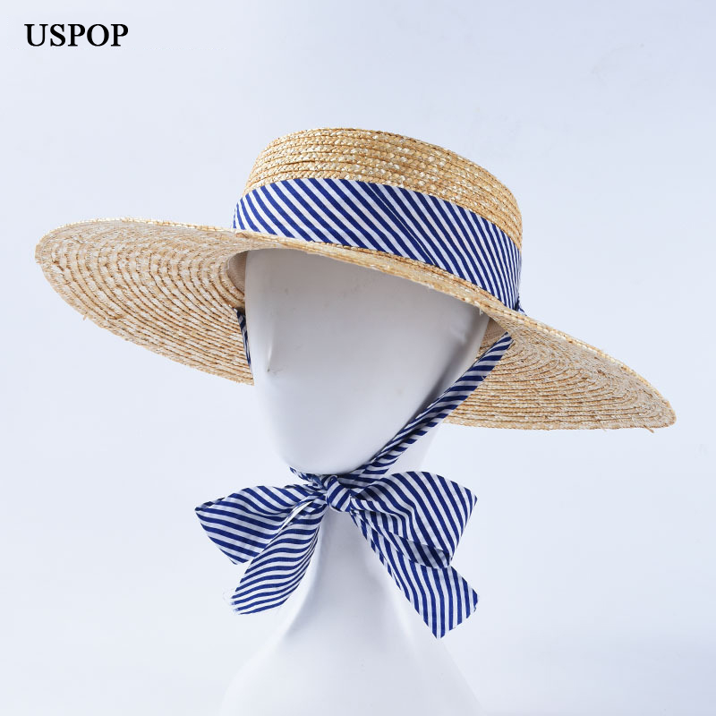 USPOP Women Sun Hat Female  Natural Wheat Straw Summer Hats Wide Brim Beach Hat Wide Striped Ribbon Lace-up Straw Hats