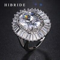 HIBRIDE Brand New Fashion Design Lady Wedding AAA Zircon Ring High Quality Gold Plated Men Women