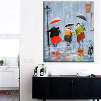 Classic Stree Rainy Scenery Wall Art Picture Handpainted Abstract Acrylic Paintings Colorful Streetscape Oil Painting on Canvas