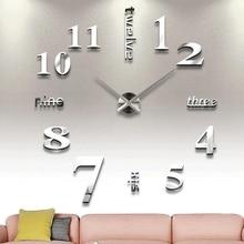 DIY Новые 3D цифровые часы настенные часы кварцевые большой зеркальный настенные часы Гостиная Современные уникальные цифры дизайн домашний декор
