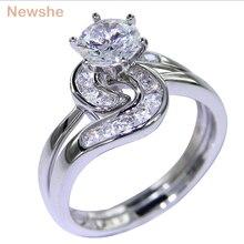 Набор свадебных колец Newshe, 2 шт., 1,5 карат, 6 Зубцов, AAA, CZ, прочные, 925 пробы, серебряные кольца для помолвки, трендовые украшения для женщин