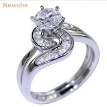Newshe 2 Stuks Wedding Ring Set 1.5 Ct 6 Prong Instellen Aaa Cz Solid 925 Sterling Zilveren Verlovingsringen Trendy sieraden Voor Vrouwen