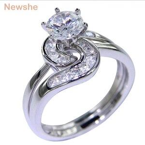 Image 1 - Newshe 2 pçs anel de casamento conjunto 1.5 ct 6 prong ajuste aaa cz sólido 925 prata esterlina noivado anéis na moda jóias para mulher