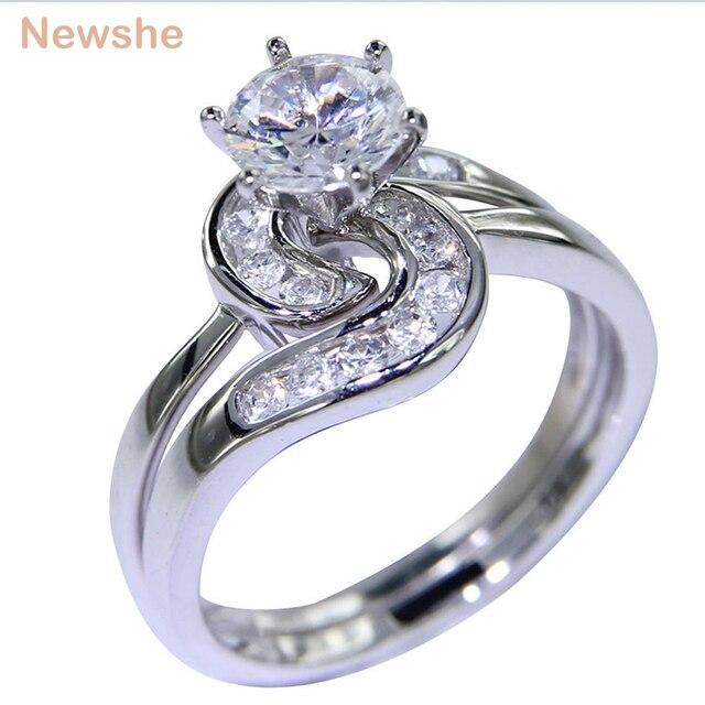 Newshe 2 pçs anel de casamento conjunto 1.5 ct 6 prong ajuste aaa cz sólido 925 prata esterlina noivado anéis na moda jóias para mulher