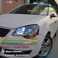 Hireno Car Styling Headlamp For 2005 09 Volkswagen Polo Headlight Assembly LED DRL Angel Lens Double