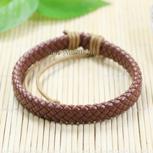 SF149- Free Shipping Wholesale Bangle Genuine Leather Bracelet With Braided Rope Fashion Jewelry Unisex for Men&Women