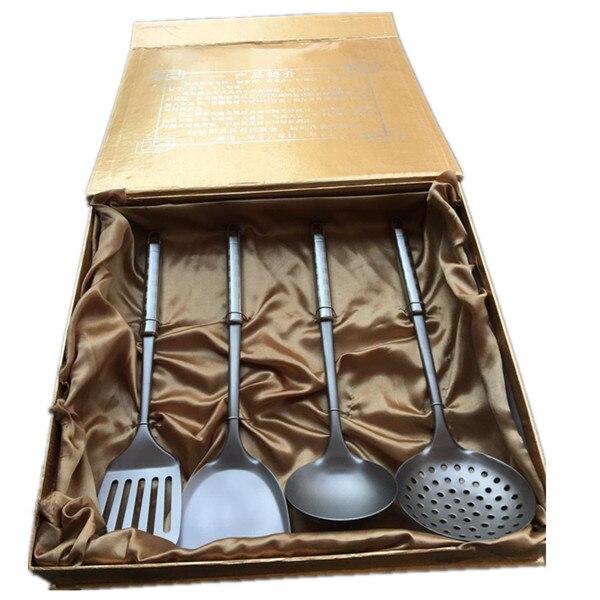 Santé titane ustensiles de cuisine 4 pièces ensemble ustensiles de cuisine cuillère spatule viande fourchette loushao frit pelle cuillère meilleure vente