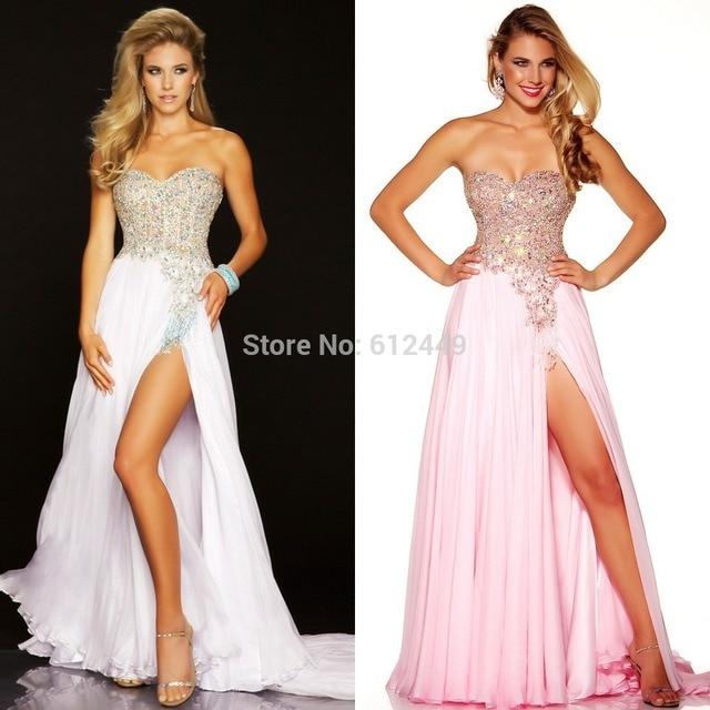 Discount Prom Dresses 2014 New Open Leg Rhinestone Layered White