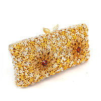 EVIL EYE White And Gold Crystal Lady Fashion Bridal Party Night Metal Evening Purse Clutch Bag