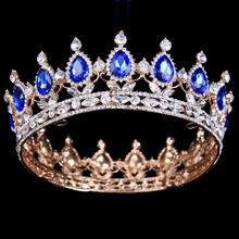 Золотой Цвет Royal Regal Синий Стразы Quinceanera Старинные Роскошные Диадемы И Короны Свадьба Аксессуары
