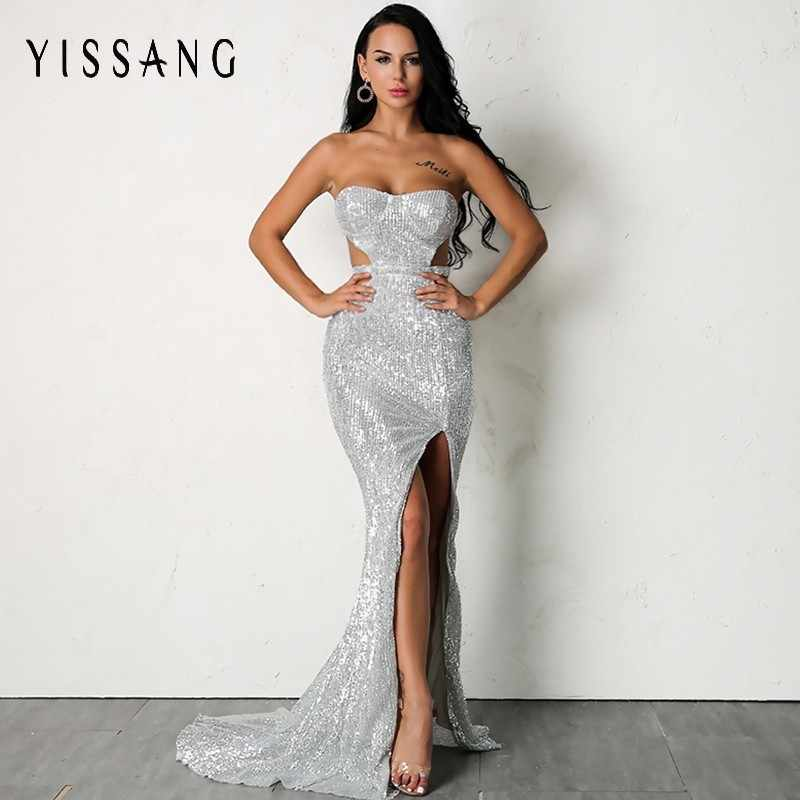Yissang Women Sexy Sequin Dress 2018 Summer Solid High Slit Party Dresses  Hollow Out V Neck 6fb7ec333e2a