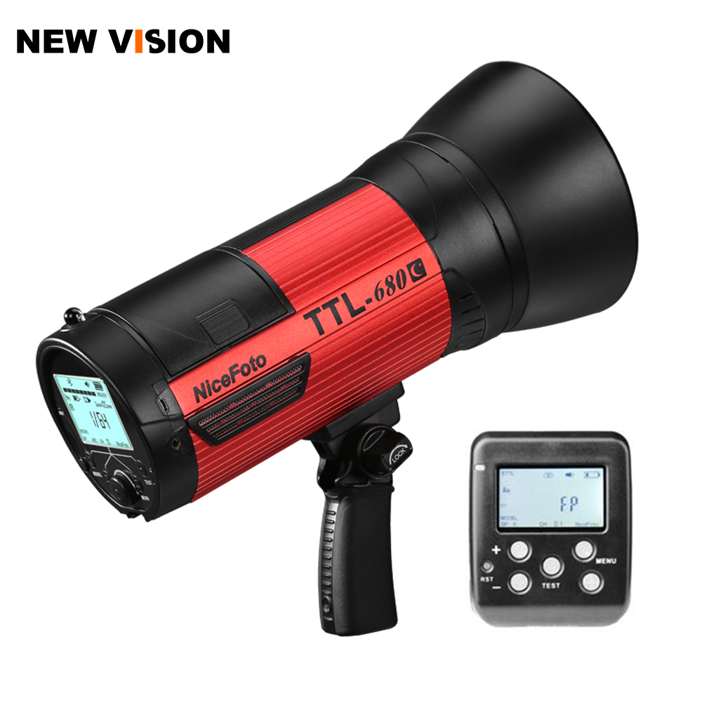 Nicefoto TTL 680C Portable 600Ws Studio Strobe Flash Light HSS 1 8000 2 4G Bowens Mount