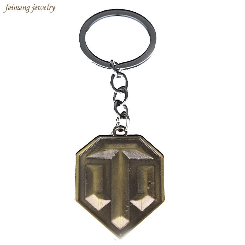 2016 Fashion Online Game World of Tanks WOT Metal Keychain Pendent For Mens Key Chain Key Ring Gift Free shipping