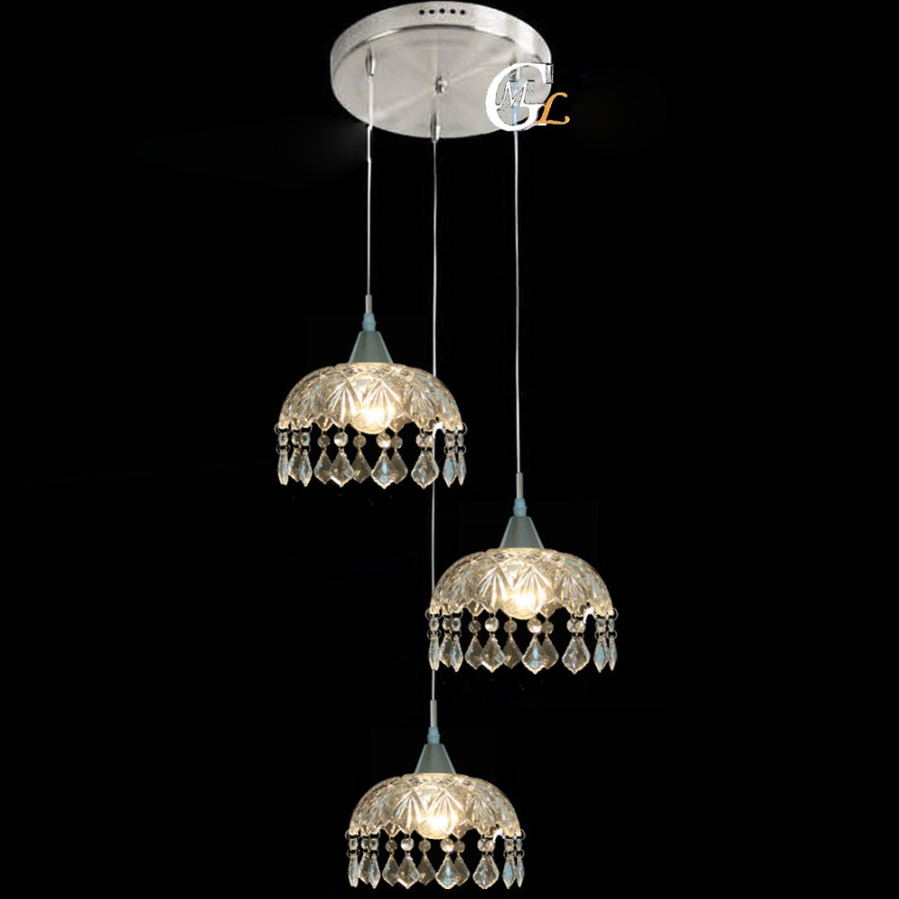 Modern clear glass crystal hanging cloakroom pendant light for Modern hanging pendant lights