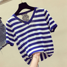 shintimes Chemise Femme Knitted Blouse Women Tops V-Neck Backless Lace 2019 Summer Woman Shirt Striped Loose Camisas Mujer