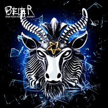 BEIER Vintage Stainless Steel Big Goat Head Ring Unique Biker Punk Animal Jewelry for man free shipping BR8-182(China)