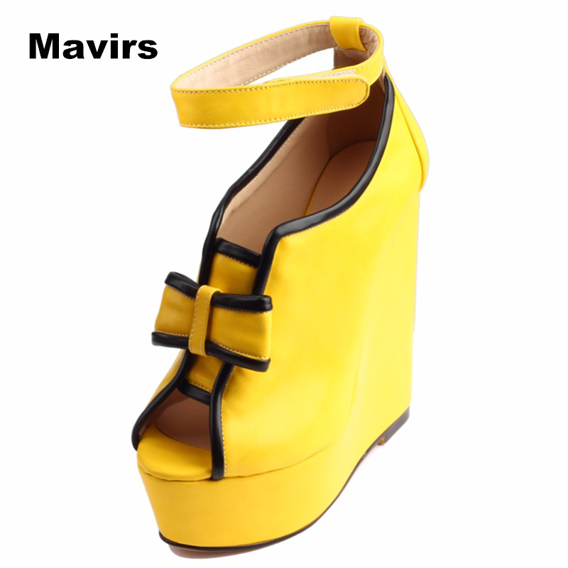 Mavirs Fashion Peep Toe Patent Leather Butterfly-knot Platform Wedges Yellow High Heels Women Sandals Summer Plus Size Shoes daikin fuq100c rr100bv