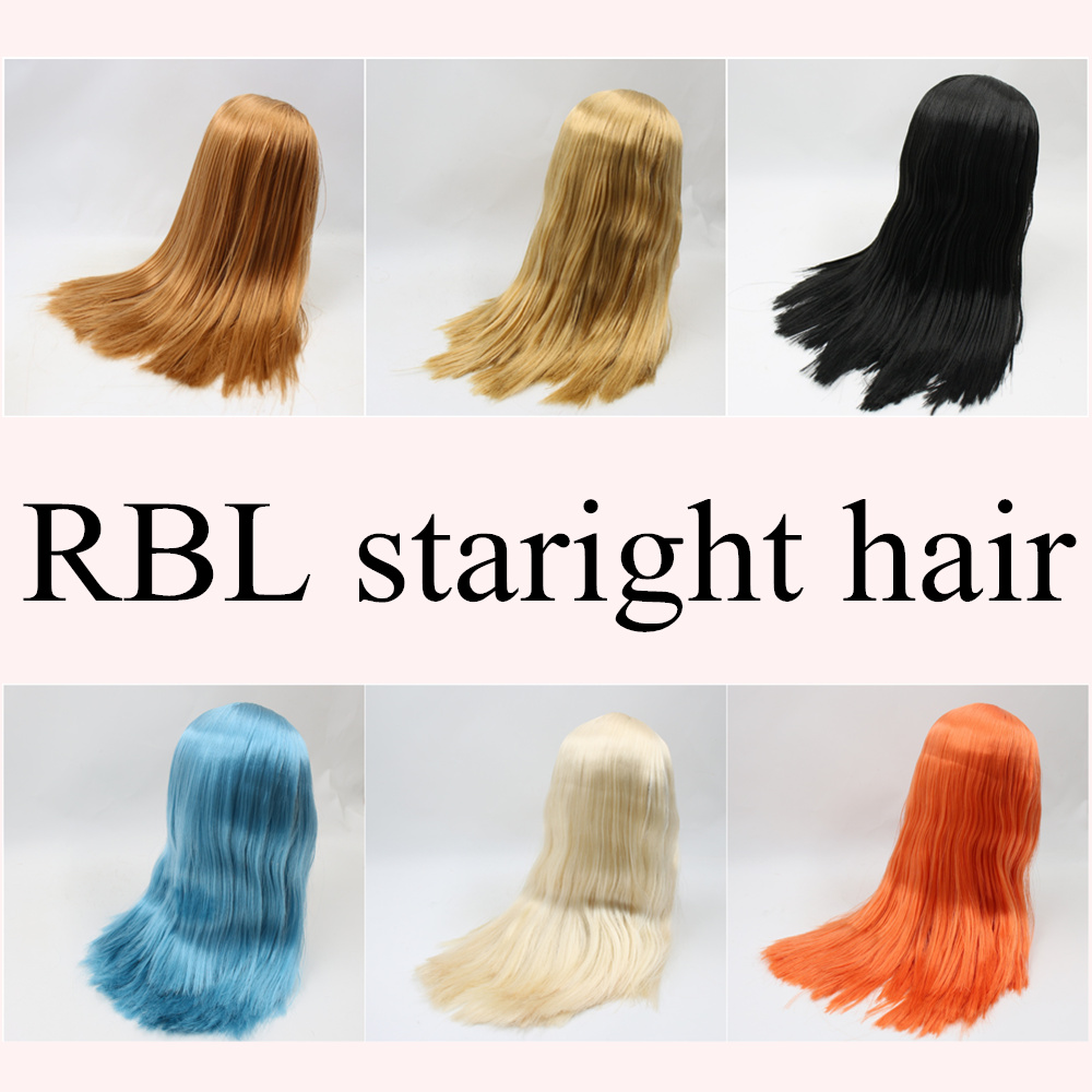 for blyth doll icy wig only rbl scalp and dome fat hair, golden blonde black straight blue orange hair fluffy straight synthetic handsome medium side bang capless blonde mixed wig for men