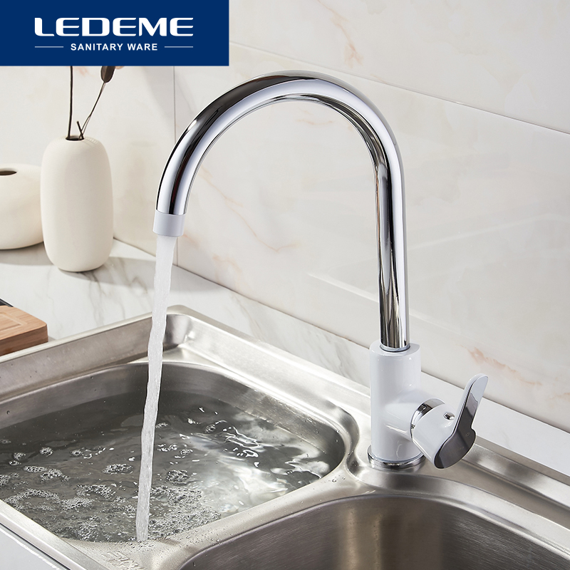 LEDEME Brass Pull Out Rotary Brushed Kitchen Faucet Sink Mixer Tap Single Handle Deck Mounted Hot And Cold Water L4003W nickel brushed pull out kitchen faucet sink mixer tap single handle hole deck mounted hot and cold water