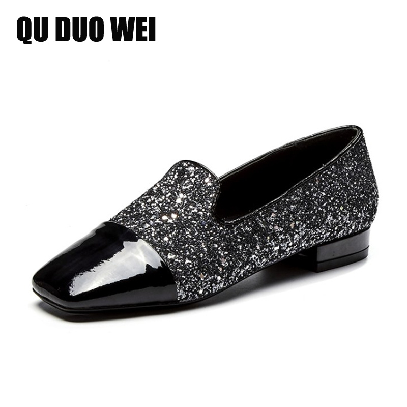 2018 New Spring Sequined Cloth Patent Leather Women Loafers Sqaure Toe Bling Glittering Casual Shoes Woman Sliver Black Flats gold sliver shoes woman for 2016 new spring glitter bling pointed toe flats women shoes for summer size plus 35 40 xwd1841