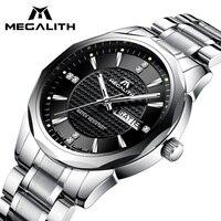 Мегалит наручные часы мужские спортивные Водонепроницаемый аналоговый календарь кварцевые Для мужчин часы класса люкс Лучшие брендовые р