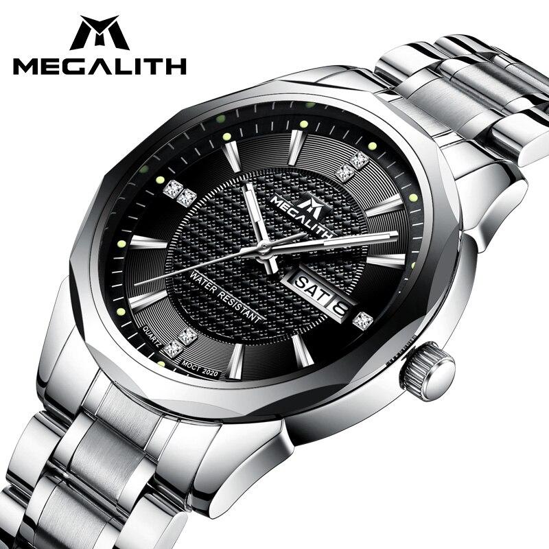 Megalito reloj caballeros deportes impermeable analógico calendario hombres reloj de cuarzo de lujo Top marca de lujo relojes hombres Montre Homme