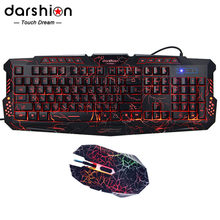 Darshion LED Backlit Russian Keyboard Gaming + Crack Gaming Mouse 6 Buttons Breathing Light Colorful Mice Upgraded Version(China)