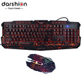Darshin LED Backlit Russian Keyboard Gaming + Crack Gaming Mouse 6 Buttons Breathing Light Colorful Mice Upgraded Version