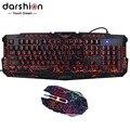 Darshion LEVOU Teclado Para Jogos Teclado Retroiluminado Russo  De Crack 6 Botões Gaming Mouse Luz Respiração Colorido Ratos Versão Atualizada
