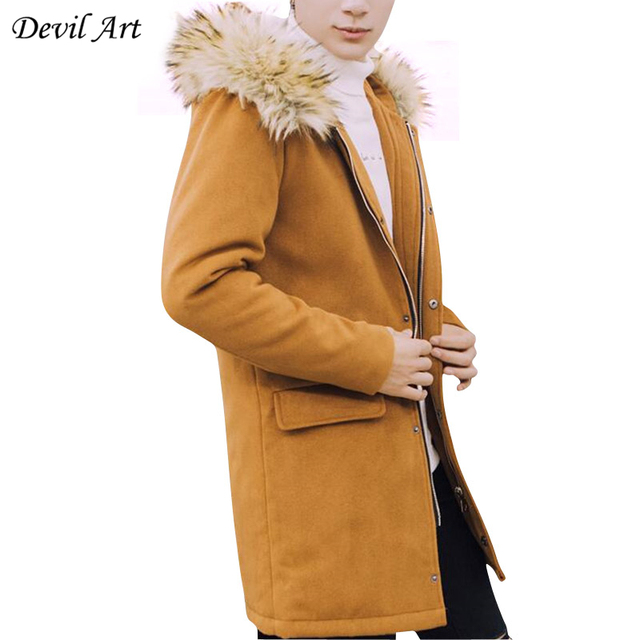 Men's Long Wool Coat Jacket Men Hooded Solid Color Parka Casual Overcoat Removable Fur Collar Trench Coat Blends Brand Clothing
