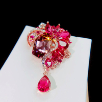 ASNORA New Design Swarovski Crystals Brooches Red Pins for Women Girls' Jewelry Gift Brooch Zircon Accessories