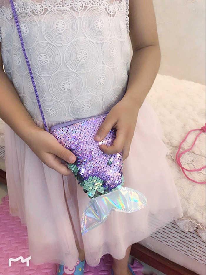 マーメイドスパンコールミニクロスボディバッグのためのファッションかわいいメッセンジャーハンドバッグ子供コイン財布ポケットマネーバッグ