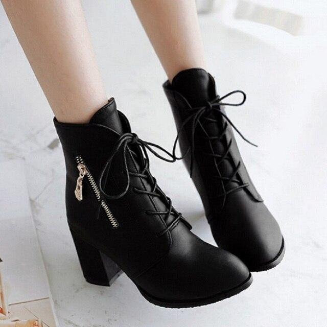 f921d34666f Plus Size plataforma tacones altos botas de cordones de tacón grueso botines  para mujeres 2015 nueva