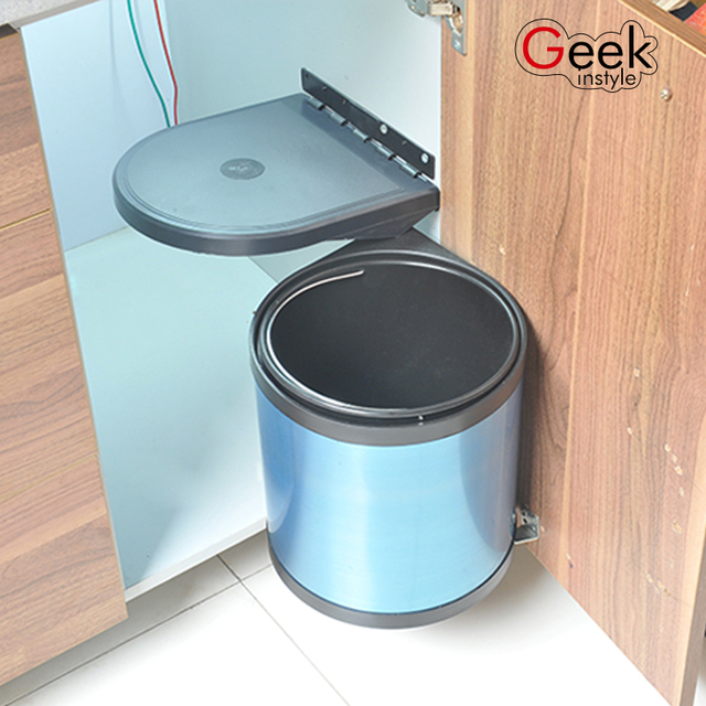 Factory Quality 5l 8l 12l Stainless Steel Pivot Out Trash Can Door Mounted Waste