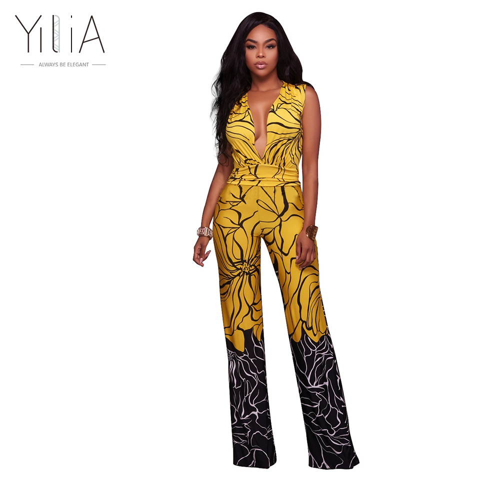 2577fe6c047a Yilia Sexy Casual Long Jumpsuit For Women 2018 New Tank Floral Print Rompers  Womens Jumpsuits .