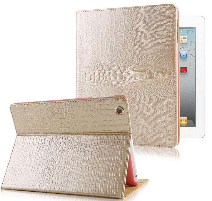 Case for iPad 2 3 4, Fashion 3D Crocodile Smart Cover Case for iPad 2/3/4 cases, PU Leather&PC 9.7 Tablet Protector A1460 Shell