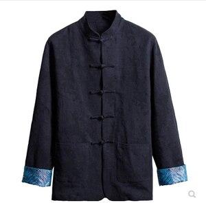 Мужской Хлопковый и льняной костюм в китайском стиле Тан, Мужская льняная одежда в стиле ретро с длинными рукавами и воротником для среднег...