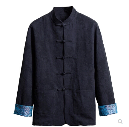 Chinese style mens cotton and linen Tang suit jacket collar middle-aged mens retro wind long-sleeved linen Chinese clothing Chinese style mens cotton and linen Tang suit jacket collar middle-aged mens retro wind long-sleeved linen Chinese clothing